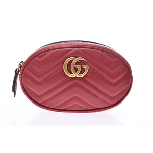 Gucci GG Marmont Belt Bag Red Gold metal Ladies Calf