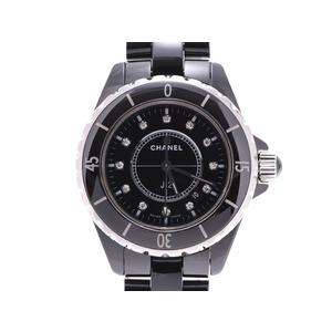 シャネル J12 33mm 黒文字盤 12Pダイヤ H1625 メンズ レディース 黒セラミック/SS クオーツ 腕時計 ABランク CHANEL 中古 銀蔵