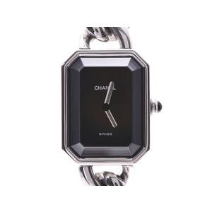 シャネル プルミエール Lサイズ 黒文字盤 H0452 レディース SS クオーツ 腕時計 Aランク 美品 CHANEL ギャラ 中古 銀蔵