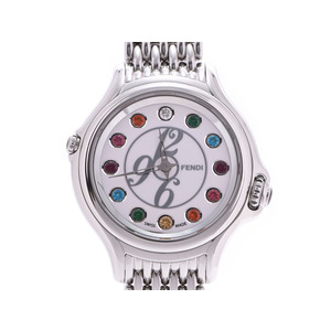 Fendi Crazy Carat White Dial 001-428 Ladies SS Quartz Watch A Rank FENDI Box Gala Used Ginzo