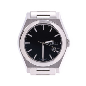 Gucci Pantheon Black Dial 115.2 Men's SS Quartz Watch A Rank GUCCI Box Sky Gallery Used Ginzo