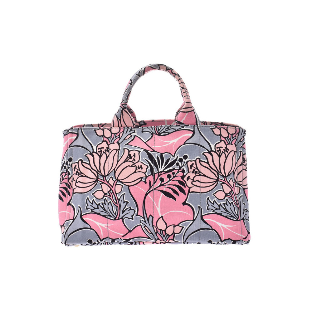 85bb606bb4fb Prada Kanapa Pink flower pattern B2642B Women's canvas 2WAY tote bag AB  rank PRADA sky galler with strap Used Ginzo | eLady.com