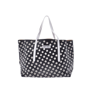 Jimmy Choo Tote Bag Black / White Star Ladies Men's Calf