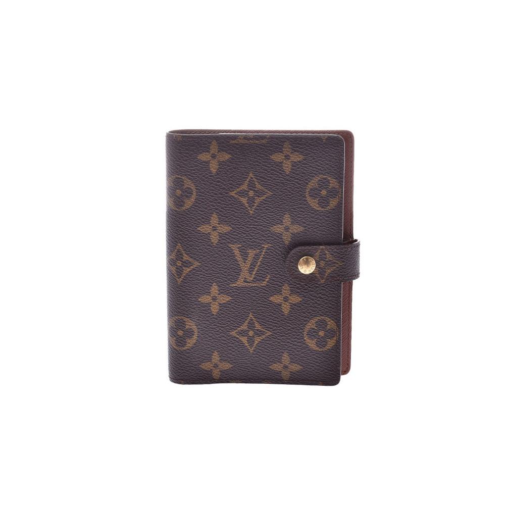Louis Vuitton Monogram Agenda PM Brown R20005 Men's Ladies Genuine Leather Notebook Cover