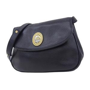 Christian Dior logo bracket magnet lock shoulder bag leather black 20190705