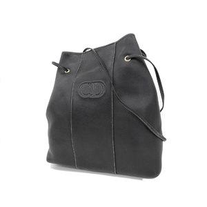 Christian Dior logo stitch vintage shoulder bag leather black 20190712