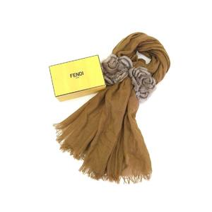FENDI Fendi Celeria Ladies Stole Silk Fur Cashmere Brown Tea Shawl 20190705