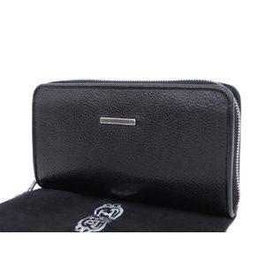 Bill Wall Leather Logo Brackets Round Fastener Long Wallet Black 20190705
