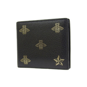 GUCCI Gucci Bee & Star Coin Wallet Leather Black Gold Bi-fold Wasp 20190705