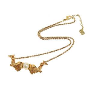 Christian Dior Faux Pearl Fish Motif Necklace Gold Pendant 20190628