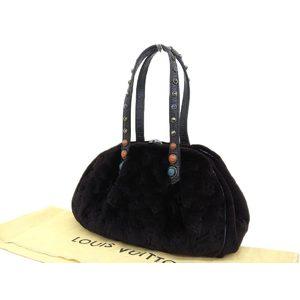 LOUIS VUITTON Louis Vuitton Dumirune cabochon bag Mink fur leather hand black M95080 20190705