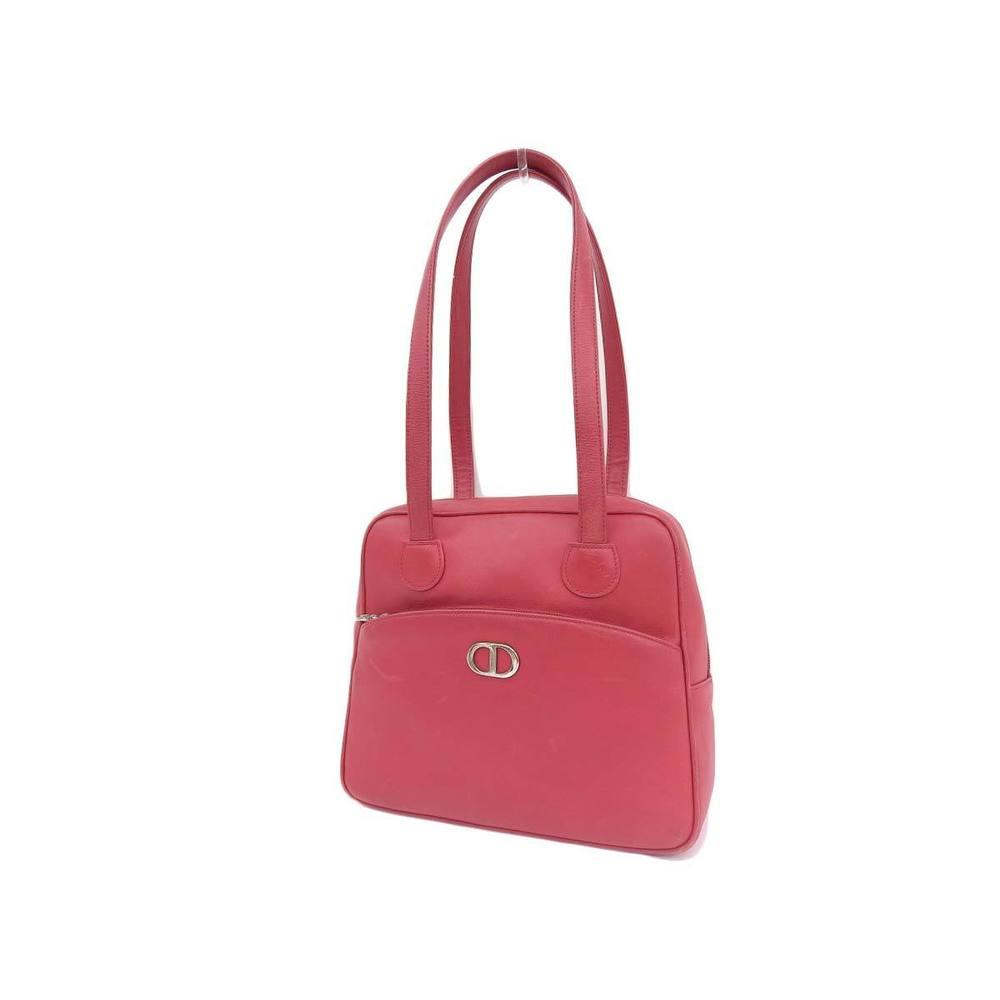 Christian Dior logo bracket vintage shoulder bag leather red 20190705