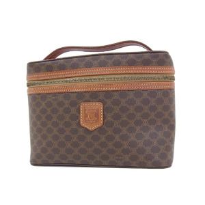 CELINE Celine Macadam Patterned Vanity Bag Hand Pouch PVC Leather Brown Brazon Vintage 20190705