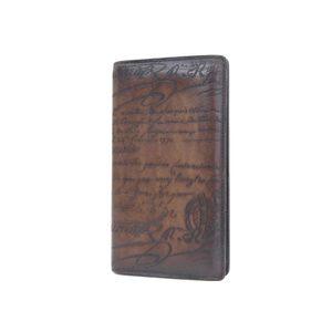 Berluti Berrutti Ebene Calligraphy Men's Long Bi-Fold Wallet Venice Leather Brown Tea 20190606