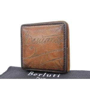 Berluti Berlutti Calligraphic Men's Coin Case Venetian Leather Brown Tea 20190712