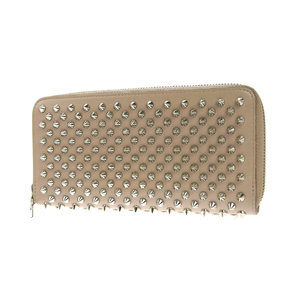 Christian Louboutin Panettone spike studs round fastener wallet leather beige 20190712