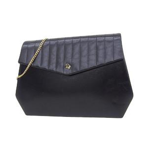 Christian Dior Vintage Logo 2way Chain Shoulder Bag Leather Black Clutch 20190705