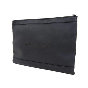BALENCIA GA Balenciaga Logo Punching Clutch Bag Leather Black Pouch 20190705