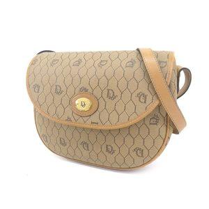 Christian Dior Vintage Logo Shoulder Bag PVC Leather Brown Tea 20190628