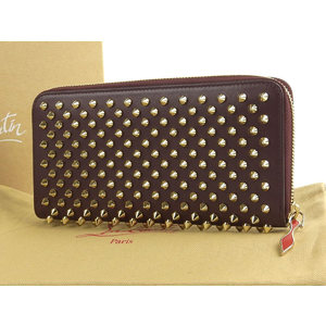 Christian Louboutin Panettone Spike Studs Round Fastener Purse Leather Bordeaux 20190705