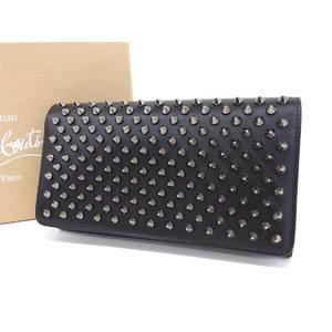 Christian Louboutin Macaron Studs Long Bi-Fold Wallet Leather Black 20190705