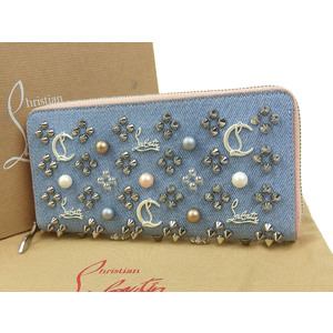 Christian Louboutin Panettone Pearl Studs Round Fastener Purse Denim Blue 20190705