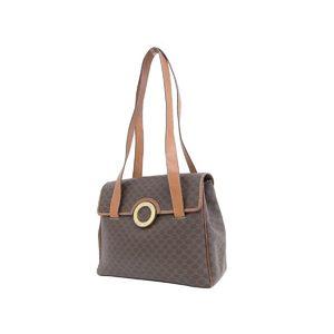 CELINE Celine Macadam Pattern Circle Logo Bracket Vintage Shoulder Bag PVC Leather Brown Tea 20190712