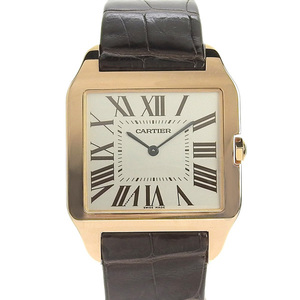 CARTIER Cartier Santos Dumont LM hand-rolled watch K18PG leather belt pink gold brown W2006951