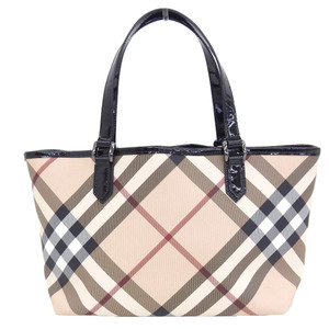 BURBERRY LONDON Burberry PVC enamel check tote bag beige × black with pouch
