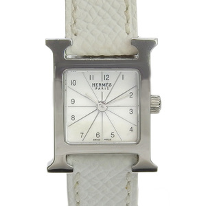 HERMES H Watch Mini Ladies Quartz Leather Belt Vaux Epson Shell Dial White □ L