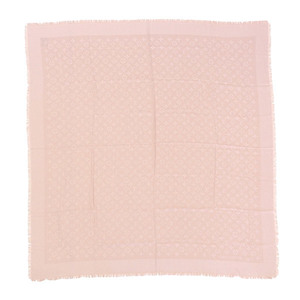 LOUIS VUITTON Louis Vuitton Silk Wool Shawl Monogram Pink Beige 402336