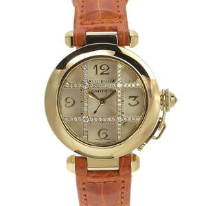 CARTIER Cartier Pasha 32mm K18YG Diamond Convex Dome Grit Ladies Automatic Watch WJ116056