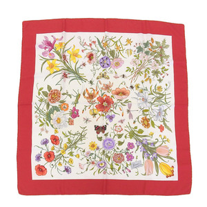 GUCCI Gucci Silk Floral Flora Scarf White x Red