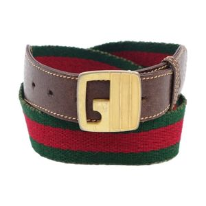 Vintage Gucci GUCCI Italian Ladies Sherry Line Buckle Belt Canvas Green Red