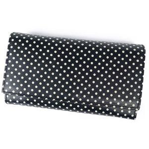 Marni MARNI Women's Men's Folded Purse Wallet Leather Carbon Dot Pattern Boxed Black White