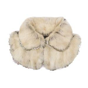FENDI FENDI Made in Italy Rabbit fur Minicape Collared collar Off-white to light beige Women