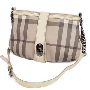 Burberry BURBERRY Italian Ladies Chain Shoulder Bag Check PVC Leather Beige 鞄