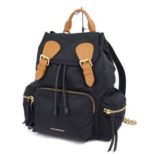 Burberry BURBERRY Ladies Nylon Chain Backpack Rucksack Black Brown Gold Leather Italian Bag