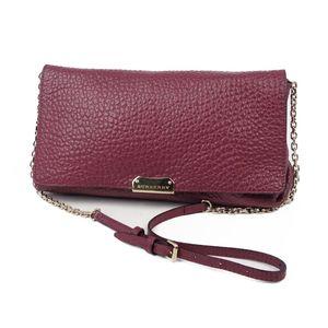 Burberry BURBERRY Leather Chain Shoulder Bag Clutch Ladies Italian Bordeaux Gold