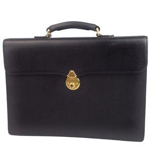 Vintage Burberry Burberrys Men's Briefcase Business Bag Second Keyed Key Lock Black Vintage