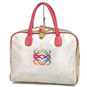 Vintage Loewe LOEWE Women's Handbag Bag Anagram Italian Made Nylon Leather Silver Gold