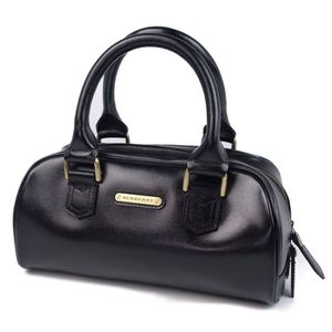 Vintage Burberry BURBERRY Back Check Handbag Leather Black Agate Bag Women's Bags Women