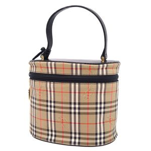 Vintage Burberry BURBERRY Horse Ferry Check Handbag Vanity Bag Leather Cotton Canvas Beige