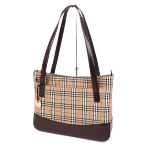Vintage Burberry BURBERRY Horse Ferry Check Canvas Leather Tote Bag Beige Brown Ladies
