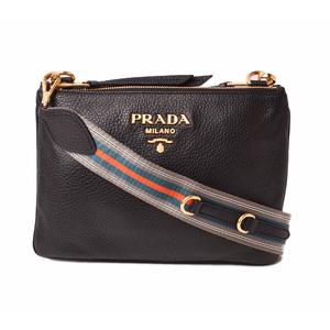 Prada Shoulder bag Clutch 2way PRADA VIT DAINO Deerskin NERO Black 1BH046 Outlet Unused