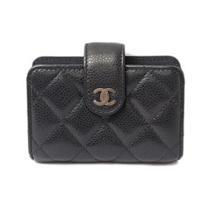 Chanel Card Case Business Holder CHANEL Caviar Skin A82287 Navy Vintage Silver Hardware