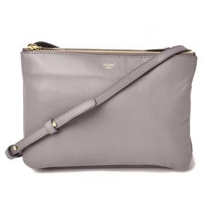 Celine shoulder bag clutch CELINE 165113 TRIO BAG trio light gray 2way