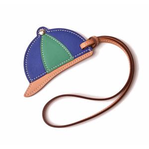 HERMES bag charm strap key holder paddock bombay hat blue green naturalment unused