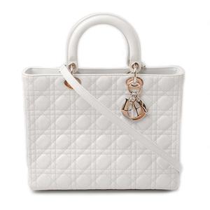 Christian Dior Handbag Shoulder Bag Lady Canage White CAL44560