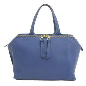Genuine LOEWE Loewe Leather 2WAY Tote Bag Blue Gold Hardware